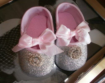 Baby Crib Shoes, Silver Baby Shoes, Christening Shoes, Fancy Shoes, Baptism Shoes, Gift, Elegant
