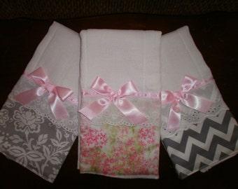 Burp Cloth Set of 6, Fancy Burp Cloth Set of 6, Baby Girl Burp Cloth Set