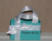 Set of 5 SMALL Blue Personalized Name & Co. Gift Bags - Many Colors Available