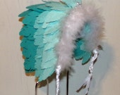 Turquoise Feathers Native American Headdress Sculpture