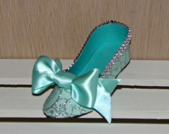 Turquoise and Silver Swirl Low Heel Paper Shoe Favor Box