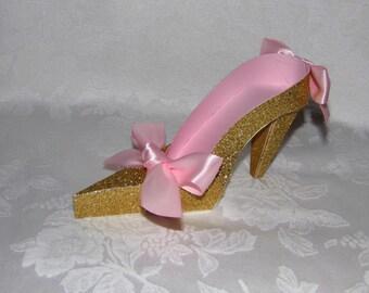 Pink and Gold High Heel Paper Keepsake Shoe, Art Sculpture, Decoration, Original Design