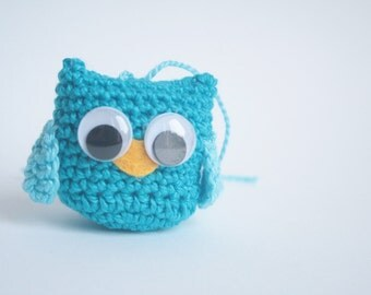 Mini Blue Crochet Owl/Plush crochet owl ornaments