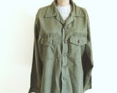 Vintage, Military, Green, Army, Work shirt, Lightweight jacket, Unisex Clothing