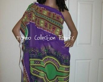 6 Yards Wholesale Purple Dashiki African print Chiffon / Purple Ankara Chiffon/ Angelina Chiffon fabric