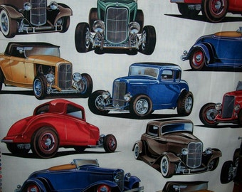 Antique Cars Fabric sold per Yard for Quilting, Decorating, Crafting, Apparel Cotton fabric, Accent Pillows, Boy's Toys