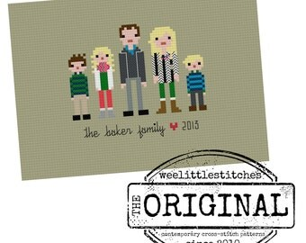 The *Original* Custom Pixel People Portrait PATTERN - The Small Family (3-5 people)