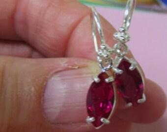 Ruby Earrings - Marquise Ruby Dangle Earrings - Ruby and Argentium & Sterling Silver Dangling Earrings