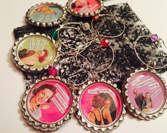 Wine Charms: Retro Girls Night Set/6 - Even More Snarky Sayings that Make You Giggle