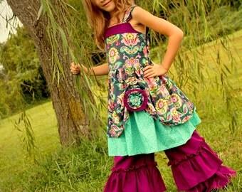 Midnight Bloom Pull Up Dress, Girls Fall Dress, Girls Floral Dress, Thanksgiving Dress, Girls Clothing, Dress, Rosie Posie, Boutique Dress