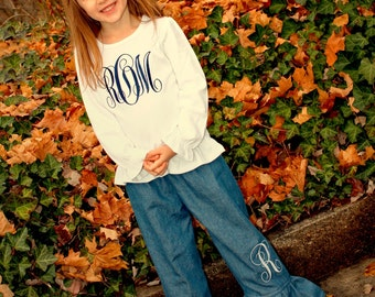 Girls Monogram Shirt, Girls Denim Pants, Girls Gift, Girls Shirt, Toddler Outfit, Girls Ruffle Pants, Girls Jeans, Girls Outfit, Pants