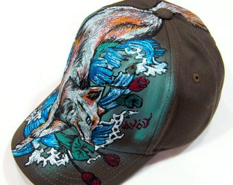 Handpainted Cute Fox with flow Kids Size Khaki Adjustable Cotton Baseball Cap