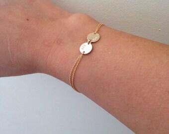 Gold disc bracelet, two disc Monogram bracelet  - gold filled, sister, mothers gift, handstamped disc, initial bracelet, friendship