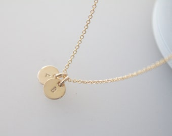 Tiny gold initial necklace, gold necklace, initial necklace, children, mother, bridal, wedding jewelry, gift, bridesmaid