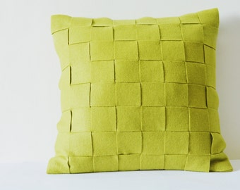 Green Felt Cushion Cover , Yellow Decorative Pillow , Accent Pillow, Felt Pillow with Woven Strips, Felt Throw Pillow , Yellow Felt Cushion