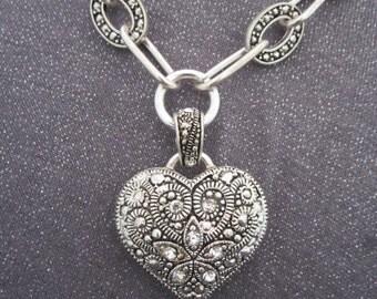 necklace, rhinestone, puffy heart, silver tone heart, rhinestone heart necklace, pendant necklace, heart pendant