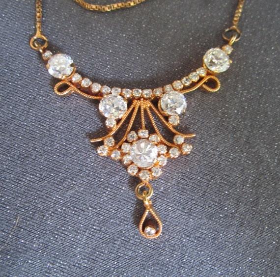 Vintage Rhinestone Draping Necklace, gold tone with rhinestones