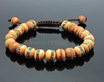 Tibetan mala Embedded medicine healing wood bead wrist mala bracelet for meditation