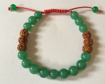 Tibetan Mala Green Jade and Rudraksha Wrist mala yoga Bracelet for meditation