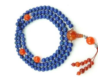 Tibetan Mala Azurite Mala 108 Beads with Carnelian Guru Bead and Tibetan Silver for Meditation