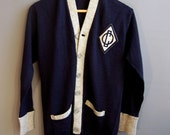 """1940s navy blue + gray summer camp wool cardigan sweater, """"OC"""" felt patch 40s sweater 50s sweater letter sweater camper grey"""