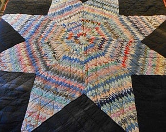 LONE or BETHLEHEM STAR Quilt, 1930s Feedsack Hand Pieced Patchwork Quilted Green Yellow Red Blue Pink, Heavy Warm Winter Bedspread 69 x 70