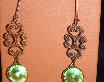 Swarovski Crystal Peridot Pierced Earrings with Natural Brass