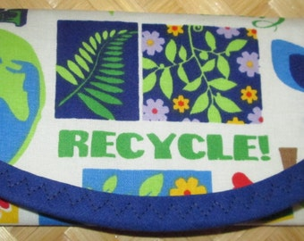 Recycle, Save the Planet, 4 - 7 x 3 Money Wallet, Go Green, Earth, 1st 4 pictures show Front of ea. last picture shows Green lining,