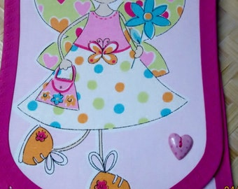 Pouch, Angel Wings or Fairy, Stiff cotton Fabric, 9 x 7, Pink Heart button, Girls dress, shoes, Polka Dots, Gift of DVD Movie