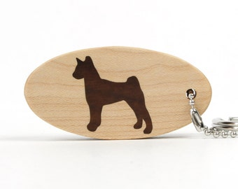 Basenji Key Chain Wood Dog Breed Scroll Saw Key Ring Wooden Pet Accessories Basenji Key Ring Dog Key Fob Walnut