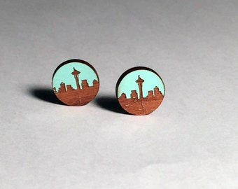 Seattle Skyline Post Earrings, Light Blue