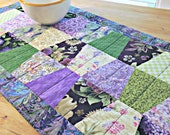 Quilted Table Runner, Spring Table Runner, Patchwork Table Runner, Purple Table Runner, Quilted Table Topper, Purple and Green Runner