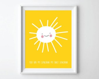you are my sunshine print - nursery decor print - Kids wall art home decor - bedroom decor print - Custom name print
