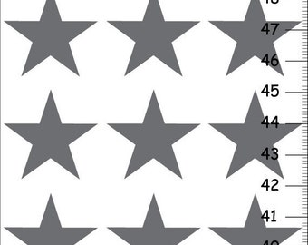 ON SALE Personalized Height Chart With Big Silver Stars, Custom Kids Wall Decor, Canvas Nursery Growth Chart