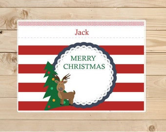 Christmas gifts - Merry Christmas-Reindeer-placemat---Kids-Personalized-Placemat-for-Christmas