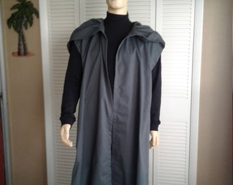 Star Wars Inspired  Sleeveless Battleship Grey Floor Length Robe Size M/L Handmade Costume Robe