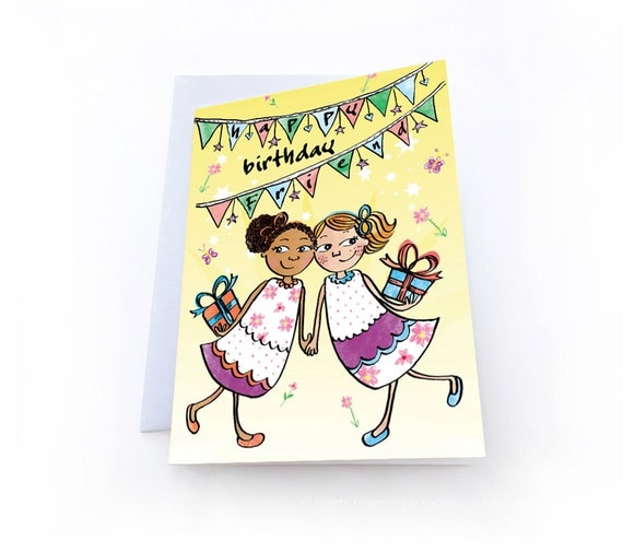 Happy Birthday Best Friend BFF Greeting Card By Nyhagraphics