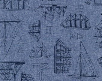 Nautical Robert Kaufman Chambray - Shirting - Denim lightweight, nautical fabric, boat fabric, pirate fabric, pirate cotton, nautical cotton