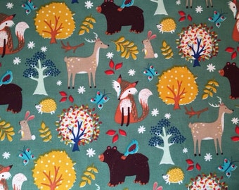 Woodland cotton fabric, fox deers Bears rabbits 100% cotton