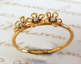 Stacking Ring, Gold Ring, Floral Ring ,Gold Flowers Ring, Flower Ring, Stackable Ring, Swarovski Jewelry