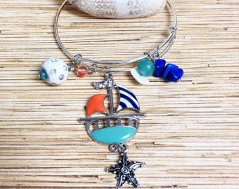 Sailboat  Bangle Charm Bracelet