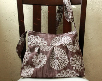Brown and White Pleated Tote Bag with Adjustable Strap