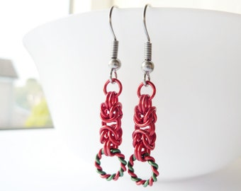 Red Chainmaille Earrings, Christmas Earrings, Red and Green, Surgical Steel Hypoallergenic Jewellery, UK Earrings