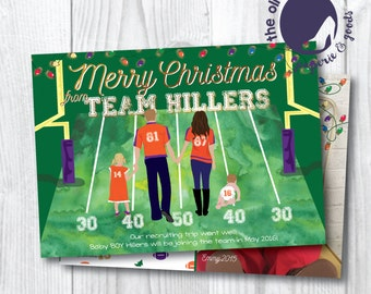 Christmas Card | 20% OFF BEFORE OCTOBER 1st | Team Colors | Clemson | Customized | Printable or Printed | Front and Back | New Baby