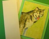 "ALASKAN MALAMUTE CARD, Original Handmade Watercolor (""Blank Inside"")"