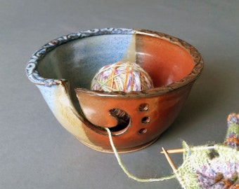 Yarn Bowl Iron Red Blue Brown Large Size Fits Whole Skein