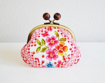 287 Retro floral candy coin purse - red, frame purse, clasp purse