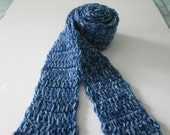 Denim scarf- extra long, skinny acrylic