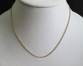"""Vintage 14k solid gold- sparkling diamond cut foxtail chain- 17 3/4""""- Italy"""