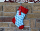 Personalized Christmas Stocking with Embroidered Tags. Houndstooth, Best Quality. Aqua and Red Stocking.  Perfect Gift. Black Tie Affair.
